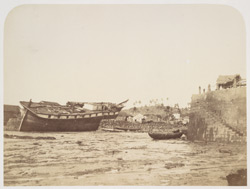 The Mazagaom Bunder, with a vessel stranded [Bombay].